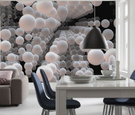 White grey and black balls wall mural wallpaper